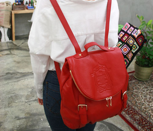 Leather Bag, Backpack Purse, Clutch Purse in Red 3279